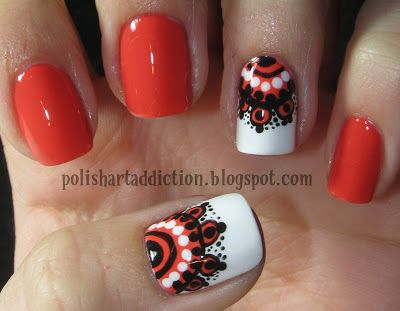 That's a cool thing to try on accent nails, maybe use tape and a band-aid to help with it or pick up some nail pens from the CVS.