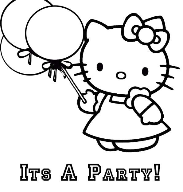 Hello Kitty Its A Party Coloring Page Hello Kitty Coloring Hello Kitty Colouring Pages Kitty Coloring