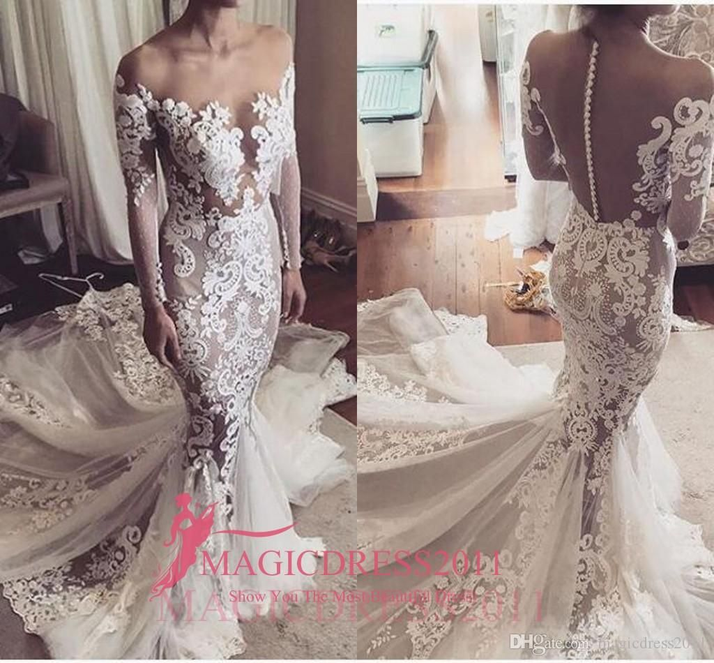 Stunning mermaid wedding dresses sheer neck jewel illusion