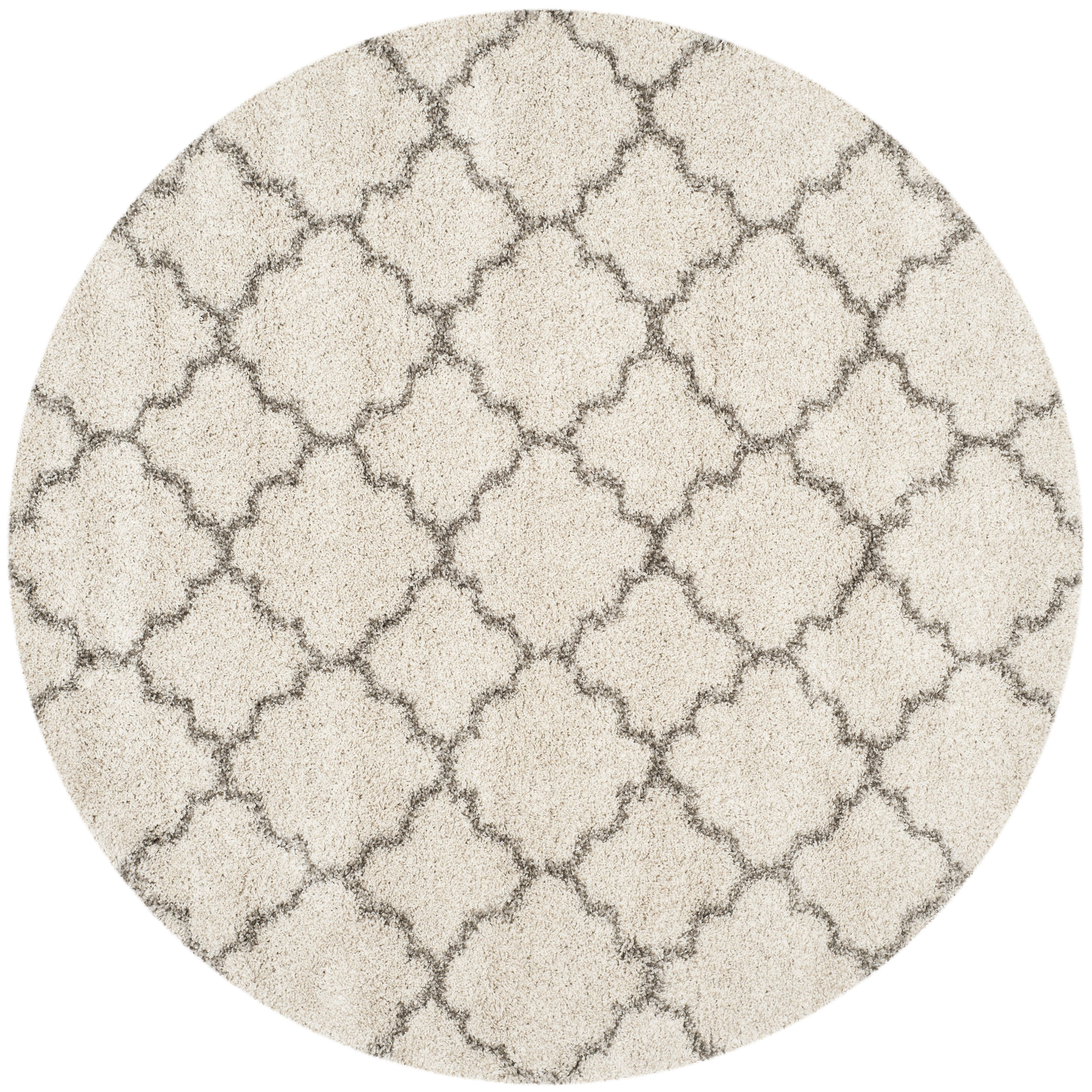 Hudson Shag Collection 9 X 9 Round Rug In Ivory And Grey