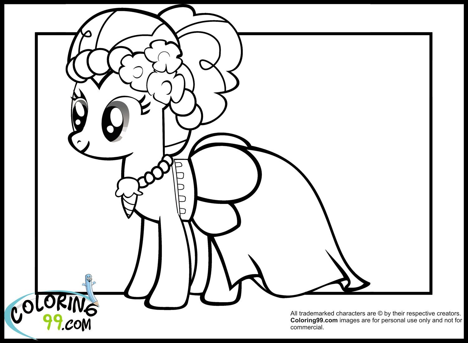 My little pony coloring pages rarity in dress - Pinkie Pie Coloring Pages For Kids Jpg 1500