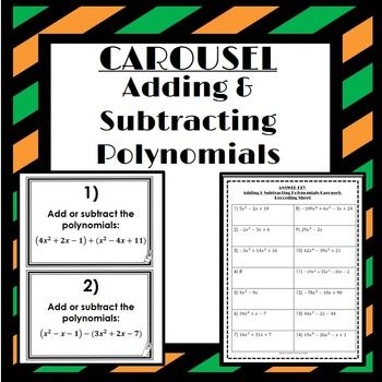 This game includes pages of questions that ask students to add or subtract polynomials also adding and subtracting carousel activity education rh ar pinterest