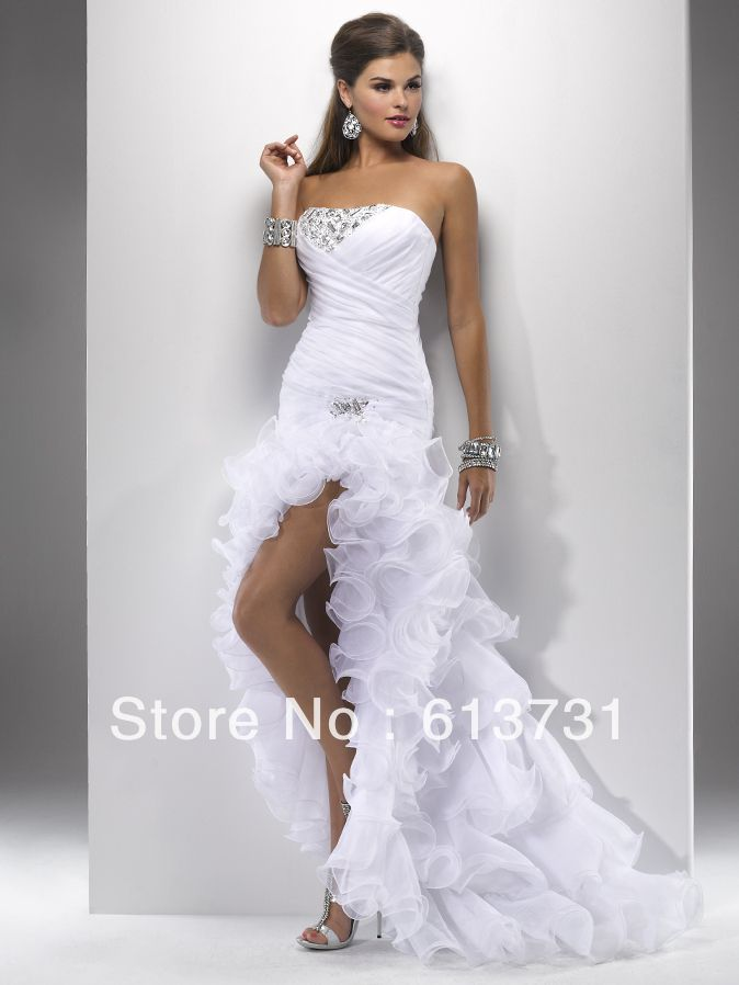 short front long back white wedding gowns ruffles destination wedding