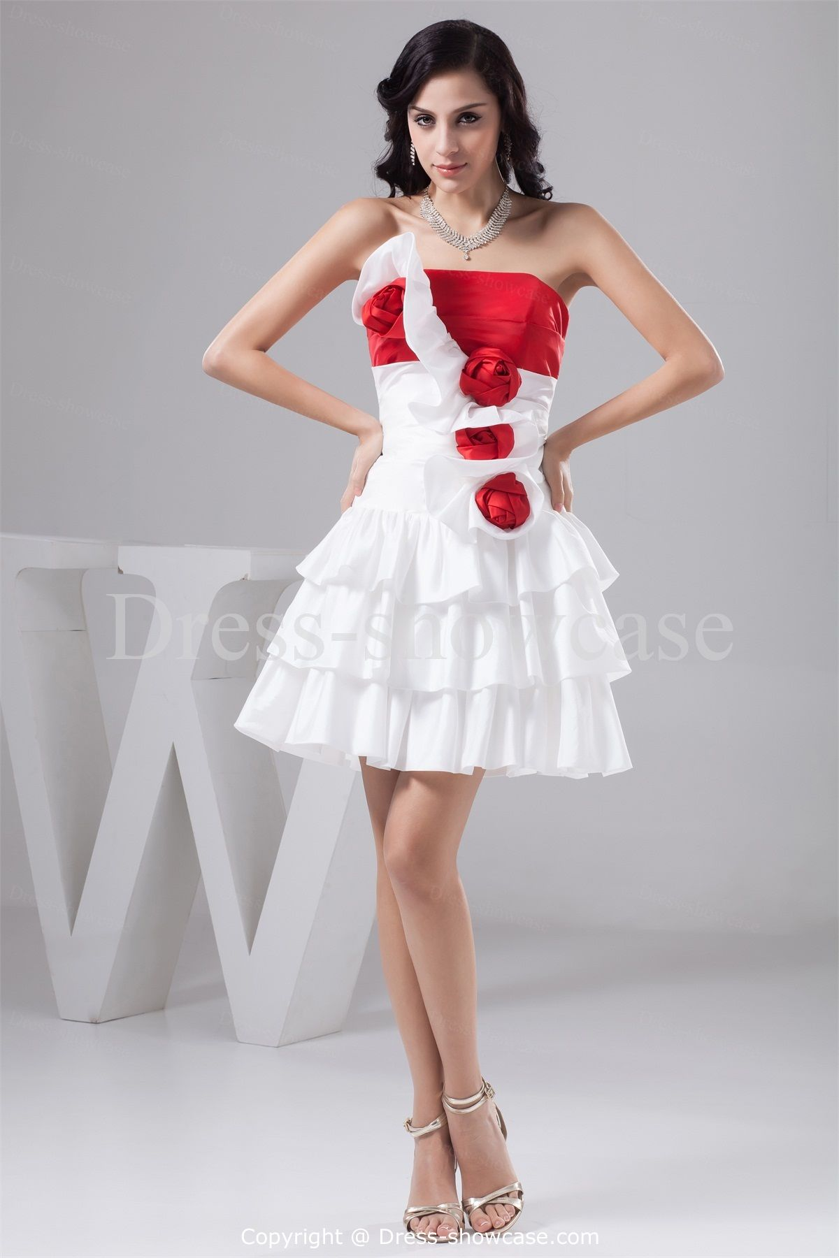occasion-dresses-ruched-homecoming-line-short-white-red-dress-red ...
