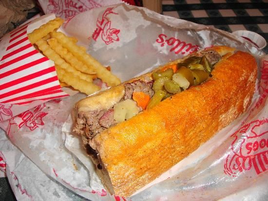 """Portillo's Hot Dogs"" - great dogs, itallian beef & you have to save room for chocolate cake."