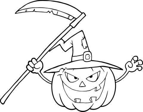 Terrorífica Calabaza de Halloween con Sombrero de Bruja y Guadaña ...
