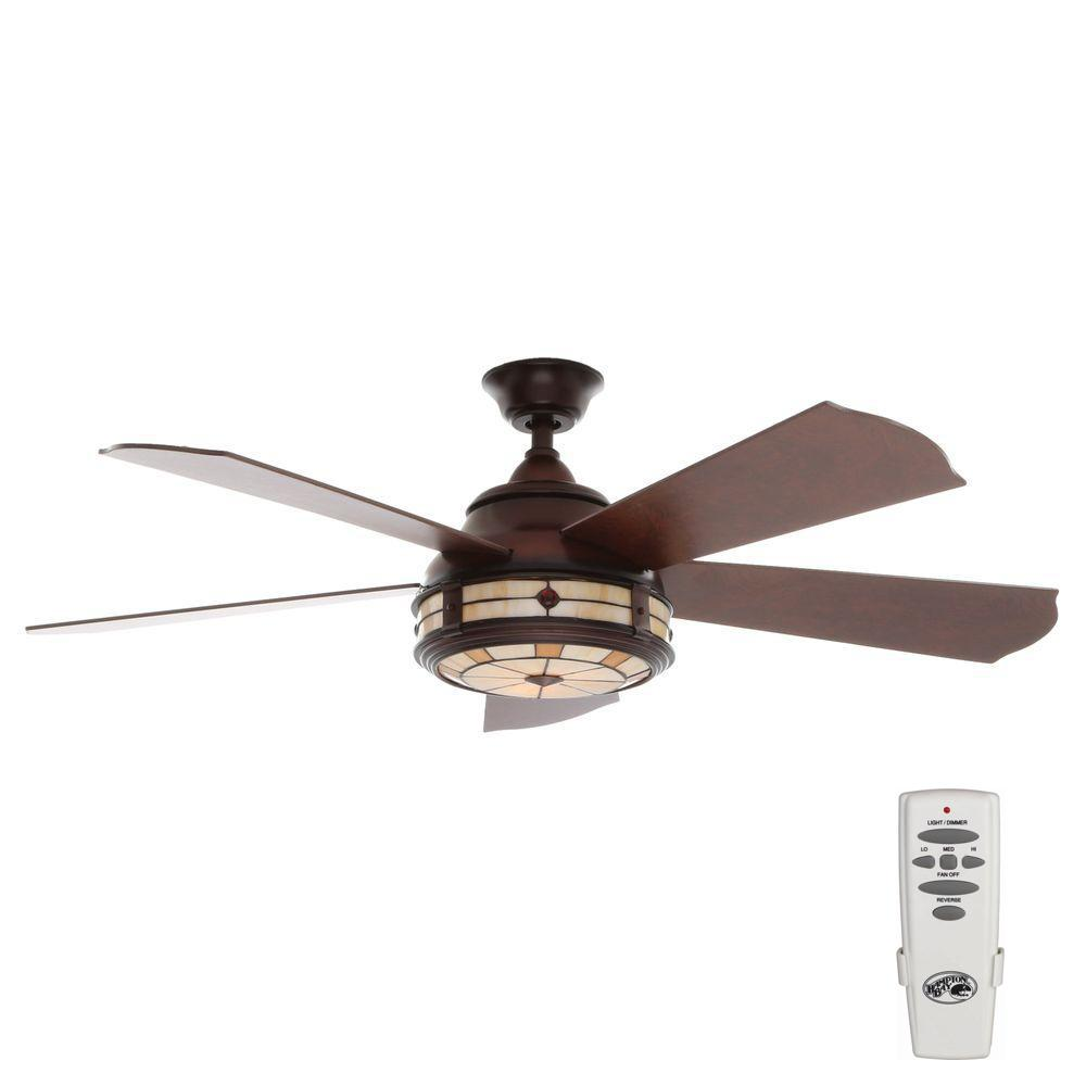 Hampton Bay Savona 52 In Indoor Weathered Bronze Ceiling Fan With Light Kit And Remote Control Ac386 Wb Bronze Ceiling Fan Ceiling Fan With Light Fan Light