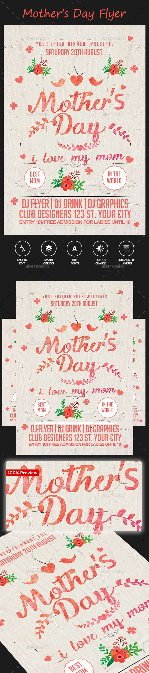 MotherS Day Flyer Template  Flyer Template Fonts And Font Logo