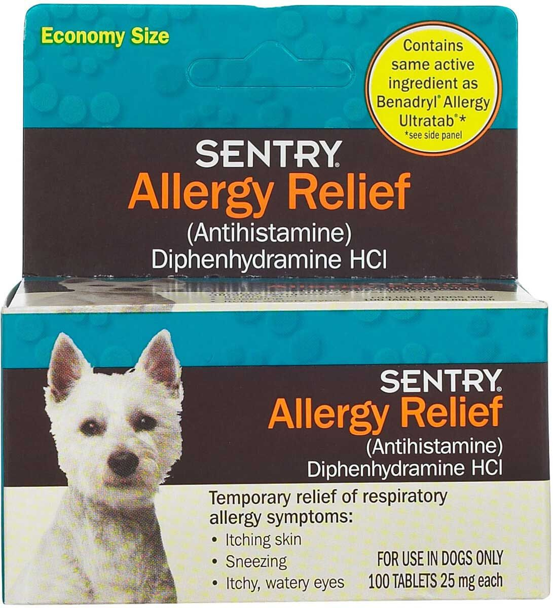 Sentry Allergy Relief Tablets for Dogs 25 mg/100 ct