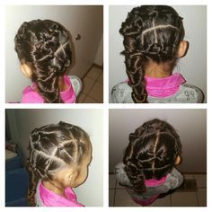 Hairties, making the hair look braided.