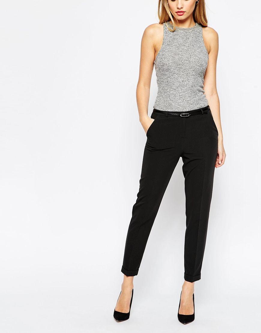 image 4 asos petite pantalon cigarette avec ceinture tenue soir e pinterest vestidos. Black Bedroom Furniture Sets. Home Design Ideas