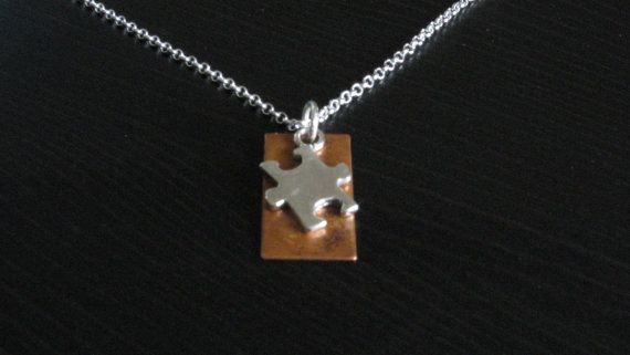 Rectangle Copper Puzzle Piece Autism Awareness by CarveOutAutism, $33.00