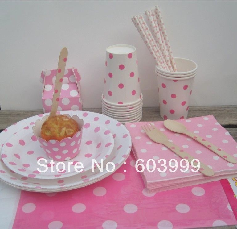White with Pink Polka Dots Partyware Paper Plates Cups and Napkins Table covers Straws Wooden & White with Pink Polka Dots Partyware Paper Plates Cups and Napkins ...