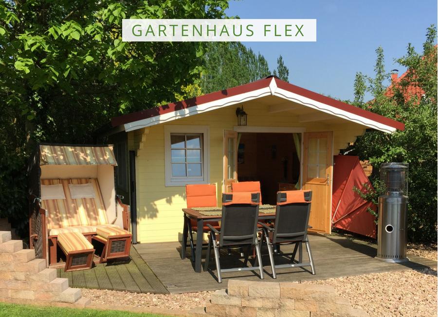 Gartenhaus Flex 50B mit 300cm Terrasse + Anbau 4x4+3Z