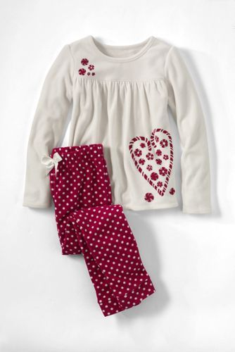 Girls Holiday Fleece Gathered Yoke Pattern Pj Set From Lands End