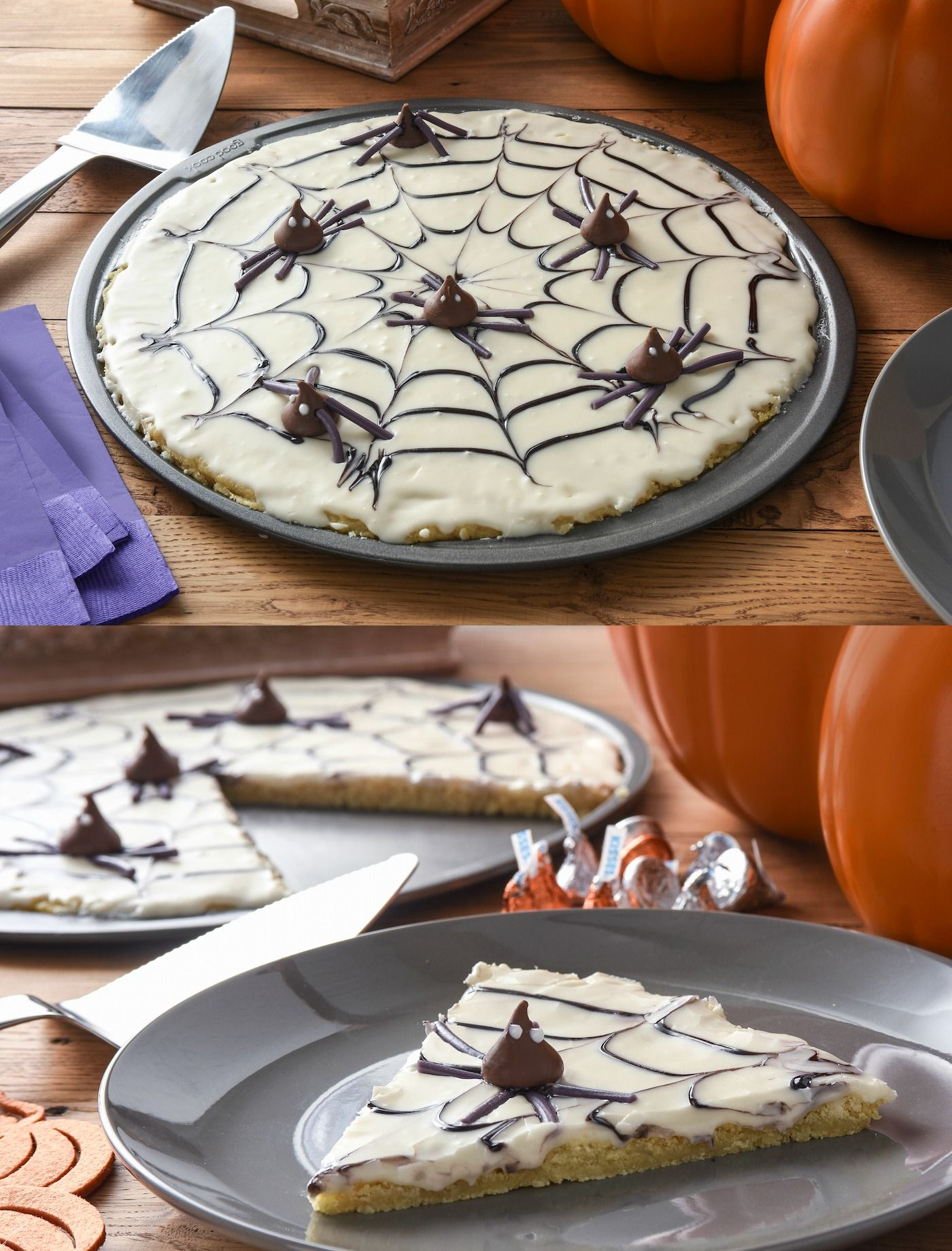 This delicious spiderweb cookie pizza makes the perfect treat for a Halloween celebration! Both adults and children alike will love it.