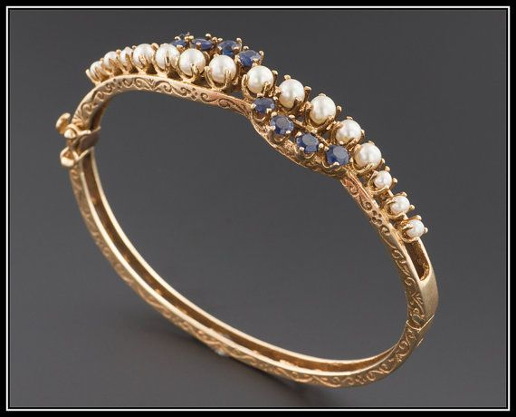 Vintage 14k Gold Pearl Amp Sapphire Bangle By