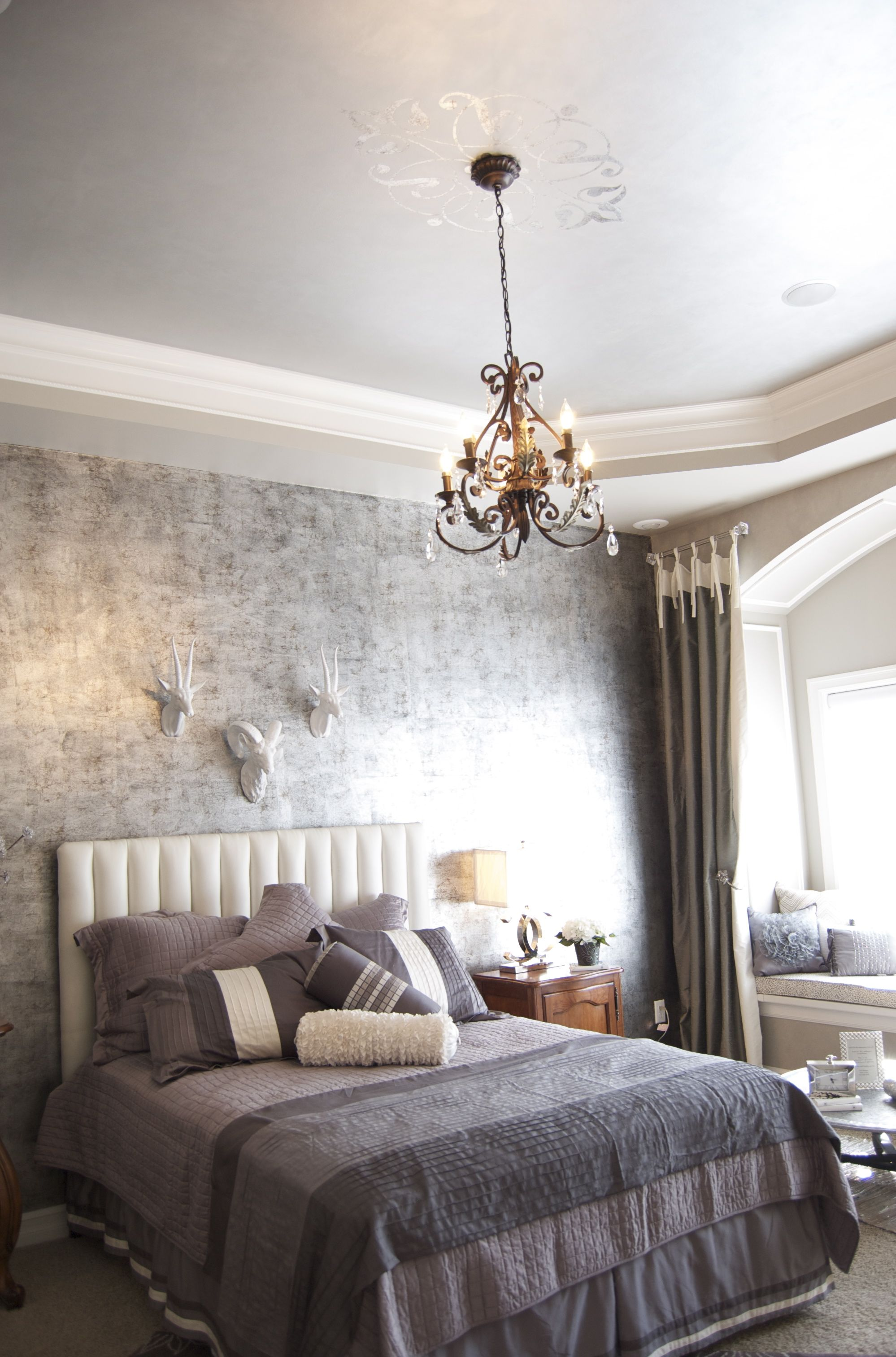 Antique silver leaf foil walls, metallic ceiling and