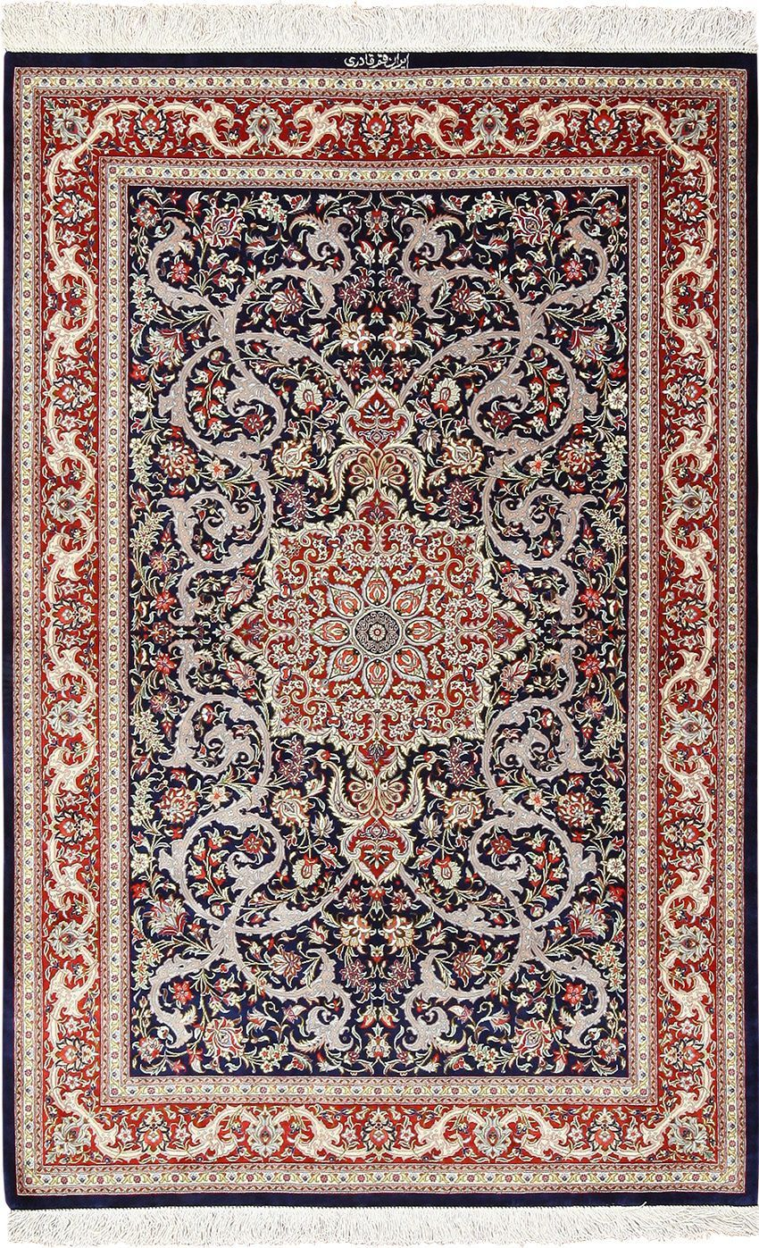 Small Scatter Size Navy Silk Persian Qum Rug 49414 in 2020