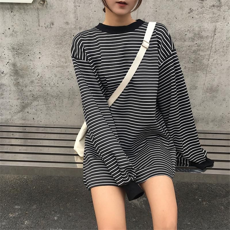 9aa765eafe itGirl Shop OVERSIZED LONG WHITE STRIPES LONG SLEEVE BLACK SWEATSHIRT  Aesthetic Apparel