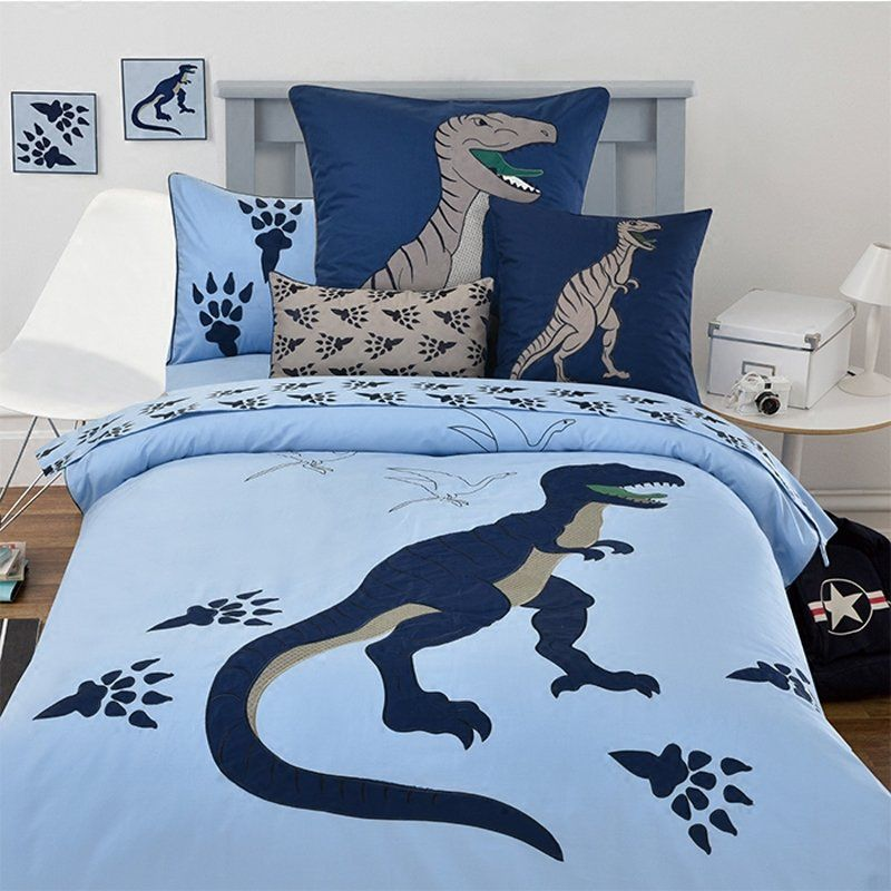 Hipster Deep Blue And Light Blue Boys Dinosaur And Paw Print Cretaceous Animal 100 Organic Cotton Twin Full Size Full Bedding Sets Twin Bed Sets Bedding Sets Twin size bedding for boy