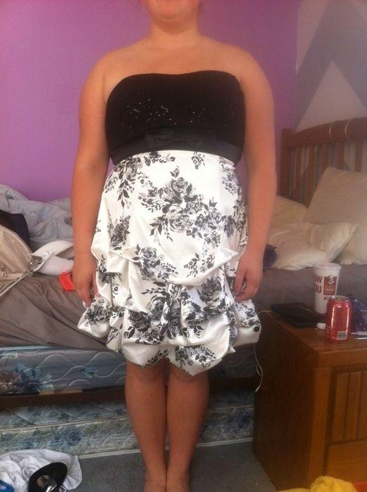 Item: Short, ruffled black and white homecoming dress