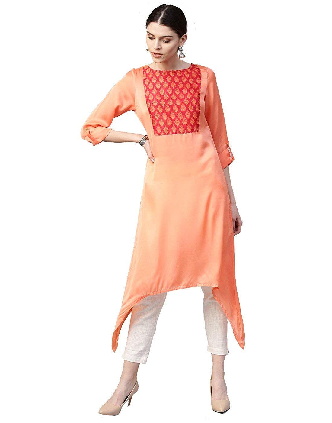 fd3ada2873 Jaipur Kurti Women Pastel Orange & Off White Solid Straight Satin ...
