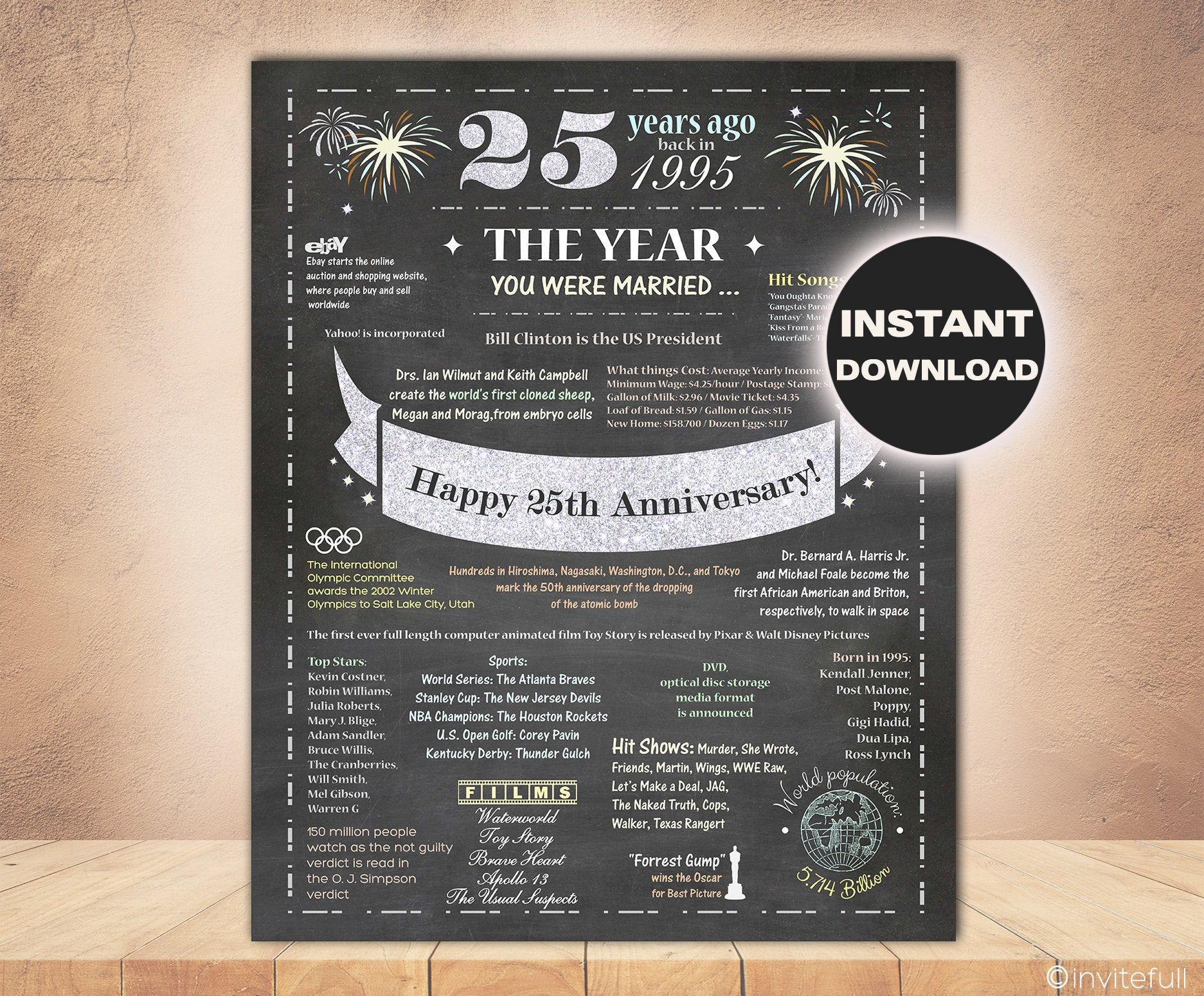 25th Wedding Anniversary, The year you were married Gift