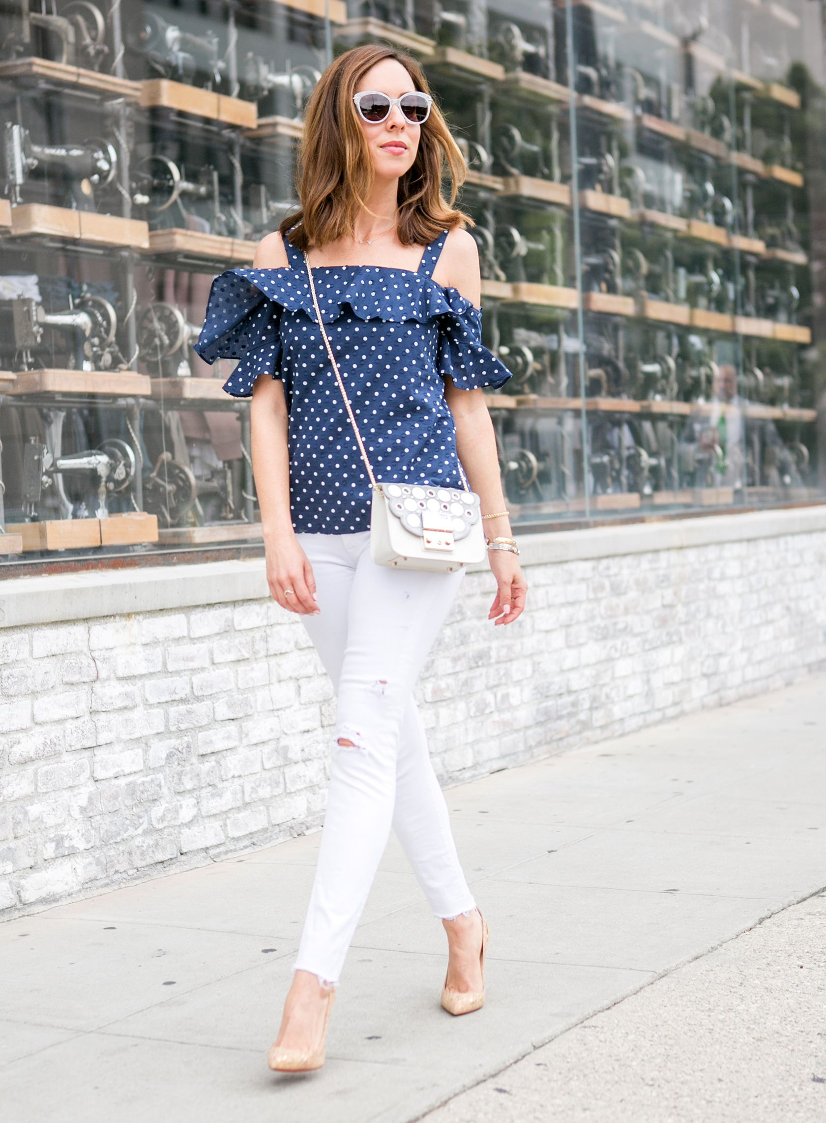 d32a31596e81 Sydne Style - Los Angeles fashion blogger Sydne Summer street-styles Polka  Dots for Casual Friday.