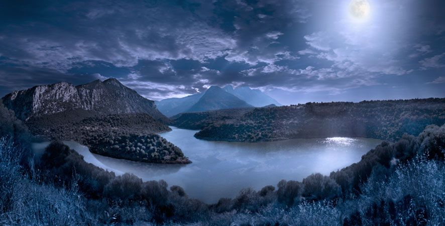 sky, night, moon, water