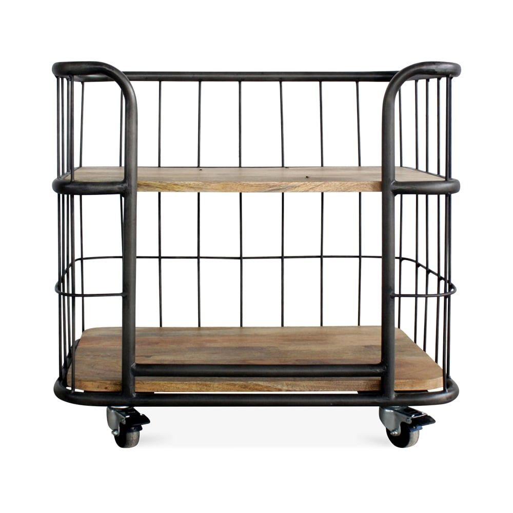 Beau Cult Living Odetta Industrial Bakers Rack, Mando Wood And Iron, Small