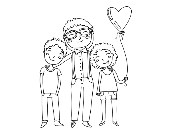 Dibujos Animados De Niños Felices Y Payaso En El Parque: Dibujo De Padre E Hijos Para Colorear