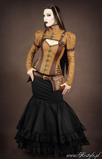 steampunk bolero schrug brown faux leather swing hooks clothing outwear. Black Bedroom Furniture Sets. Home Design Ideas