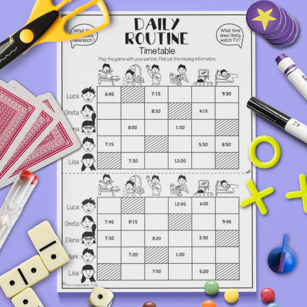 Daily Routine Timetable Gap Fill Game