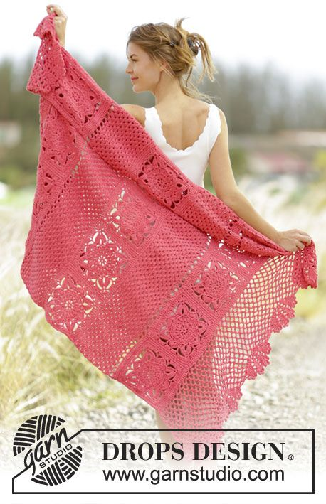 Red Crochet Blanket with Flower Motif [Free Pattern | Catálogo ...