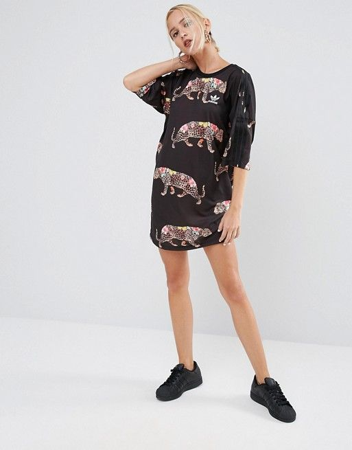 adidas Originals X Farm Multi Leopard Print T-Shirt Dress With ... ef0c3768c