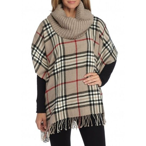 V Fraas Taupe Plaid Poncho With Turtleneck (£45) ❤ liked on Polyvore featuring outerwear, taupe, brown poncho, turtle neck poncho, plaid ponchos, turtleneck ponchos and turtleneck top
