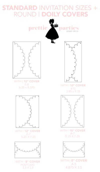 Standard Invitation + Decorative Doily Sizes #weddinginvitations #DIY  #paperdecorations