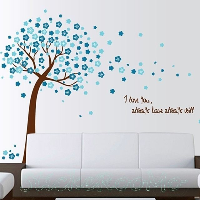 Cherry Blossom Tree Blue Mural New Wall Art Stickers Decals Home Diy Decor Part 69