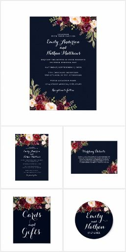 Navy Blue Burgundy Red Floral Wedding  Elegant wedding invitations - best of invitation text adalah