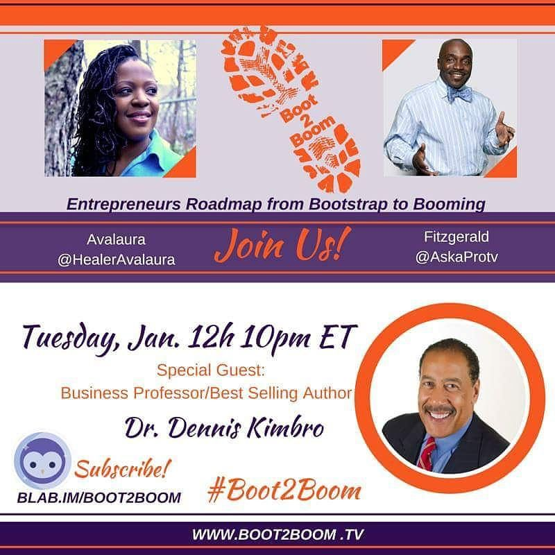 #boot2boom is breaking blab TONIGHT at 10pm ET with our amazing guest Dr. Dennis Kimbro author of Think and Grow Rich: a Black Choice and the Wealth Choice! Watch us live at http://www.boot2boom.tv