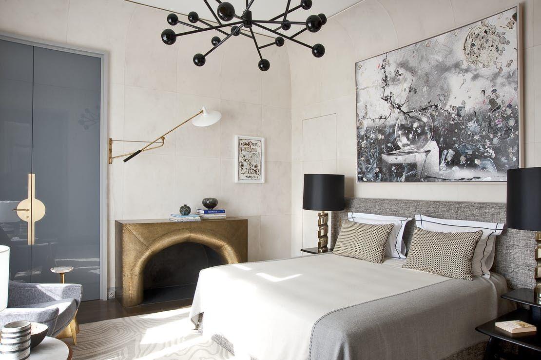 Paris classic futuristic pied terre with custom Deniot fireplace