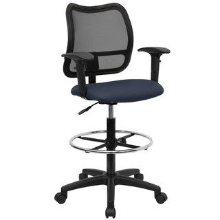 Outstanding Lancaster Home Modern Fabric Drafting Chair With Arms Navy Uwap Interior Chair Design Uwaporg