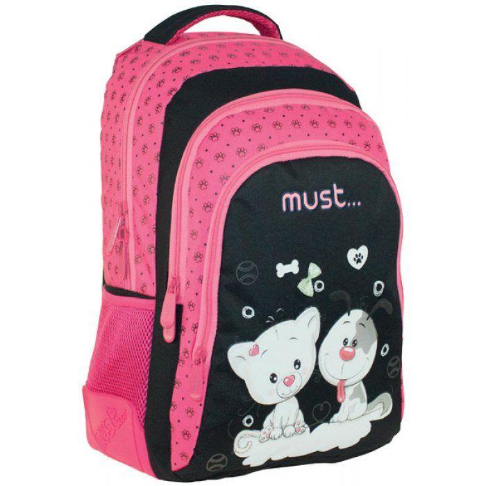Σχολική τσάντα πλάτης MUST ΜΕ ΚΟΥΚΟΥΛΑ 3ΘΗΚΕΣ 30x46x20 DOGS   CATS 579277  d03e5dd190a