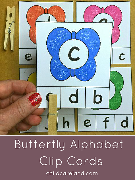 Butterfly Alphabet Clip Cards For letter recognition and