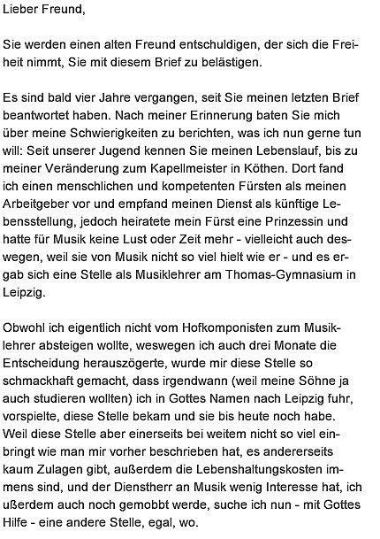 the letter of johann sebastian bach to friend georg erdmann - Johann Sebastian Bach Lebenslauf