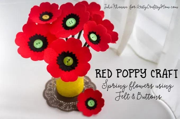 Spring flowers: Red Poppy Felt Craft