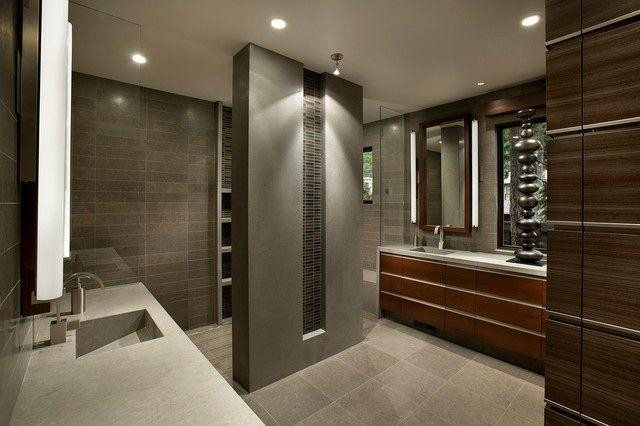 Holzwand Schränke Spiegel moderne Steinwand grau Inspiration - badezimmer steinwand