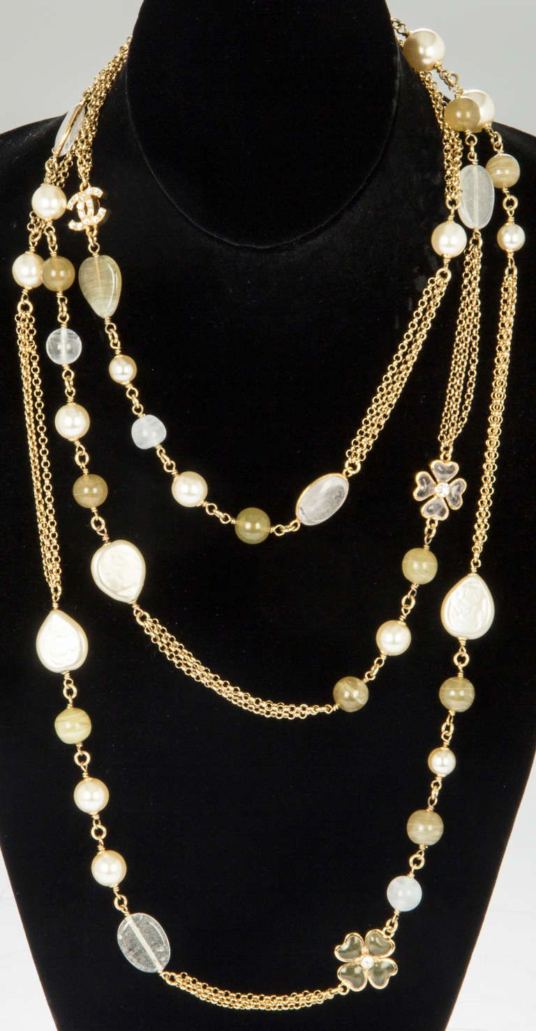 Chanel Long Cloverleaf And Pearl Chain Necklace