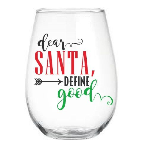 Christmas Wine Glass, Stemless Wine